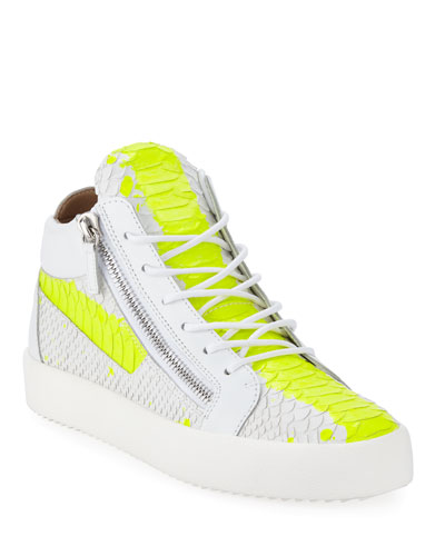 Men's Neon Snake Double Zip Mid-Top Sneaker