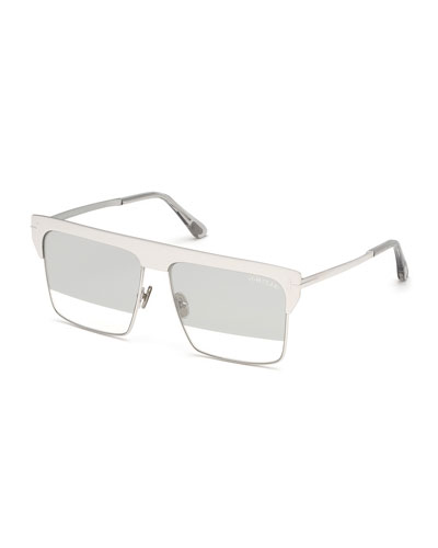 Men's Square Half-Rim Metal Sunglasses