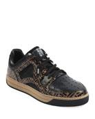 Fendi Men's Fancy Logo Low-Top Leather Sneakers