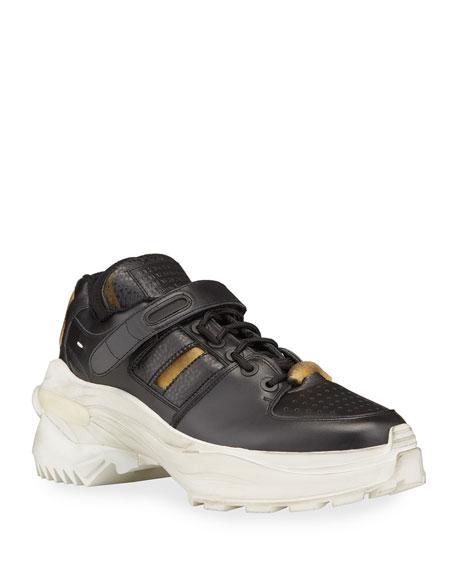 Maison Margiela Men's Retrofit Leather Trainer Sneakers with Dirty Treatment