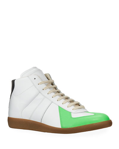 Men's Replica Leather/Suede Colorblock High-Top Sneakers
