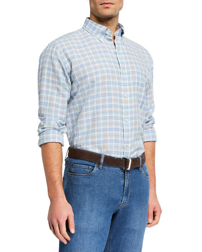 Men's Seaside Linen Plaid Sport Shirt
