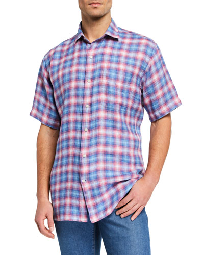 Men's Seaside Linen Short-Sleeve Sport Shirt