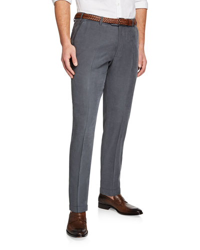 Men's Flat-Front Solid-Weave Trousers