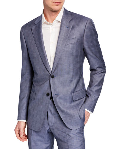 Men's G Line Super 140s Wool Plaid Two-Piece Suit