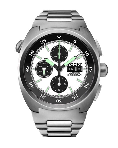 Men's 45mm Air Defender Panda Stainless Steel Chronograph Watch with Bracelet