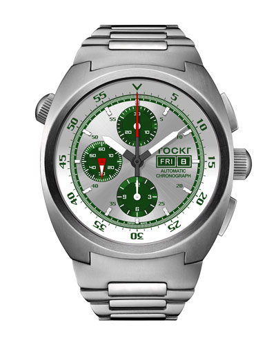 Men's 45mm Air Defender Silverado Chronograph Watch with Bracelet, Green
