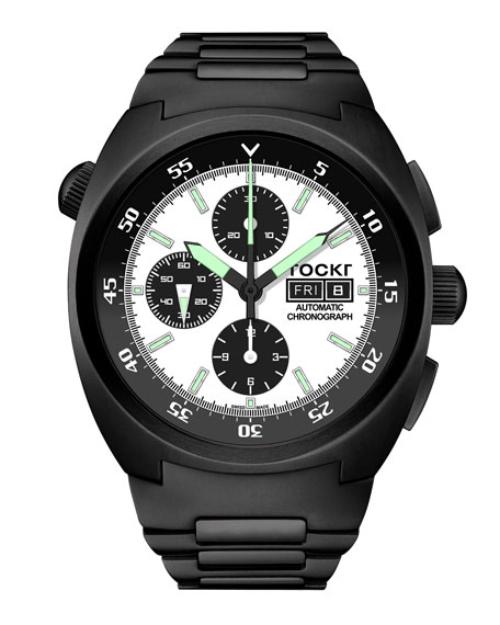 Tockr Watches Men's 45mm Air Defender Panda Stainless Steel Chronograph Watch with Bracelet, Black PVD
