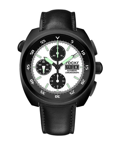 Men's 45mm Air Defender Panda Chronograph Watch with Leather Strap, Black PVD
