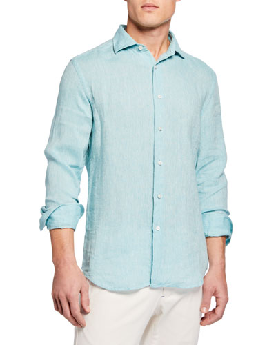 Men's Long-Sleeve Linen Sport Shirt