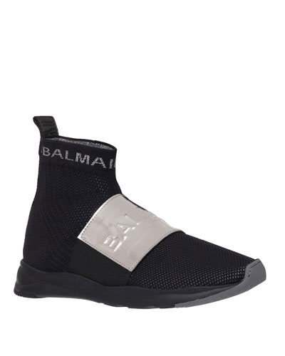 Men's Cameron Knit Logo-Strap Running Sock Sneakers