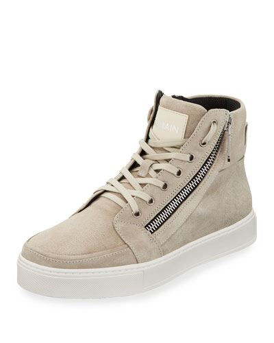Men's Suede High-Top Zipper Sneakers