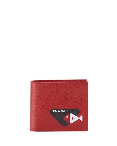 e7cb2bf84b68 Quick Look. Prada · Men s Fish-Graphic Saffiano Leather Bifold Wallet