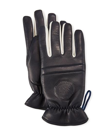 Stefano Ricci Men's Logo-Embossed Calfskin Leather Gloves