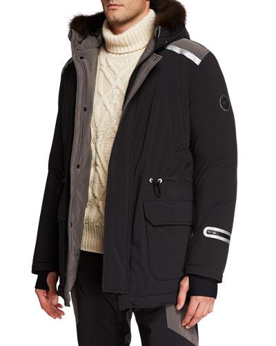 Men's Pekan-Fur Hooded Jacket