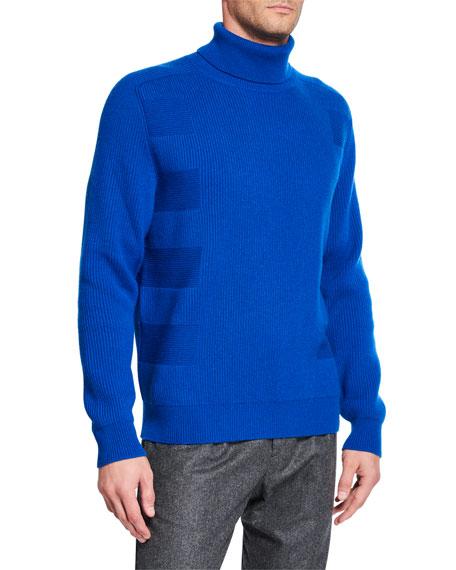 Stefano Ricci Men's Directional-Rib Cashmere Turtleneck Sweater