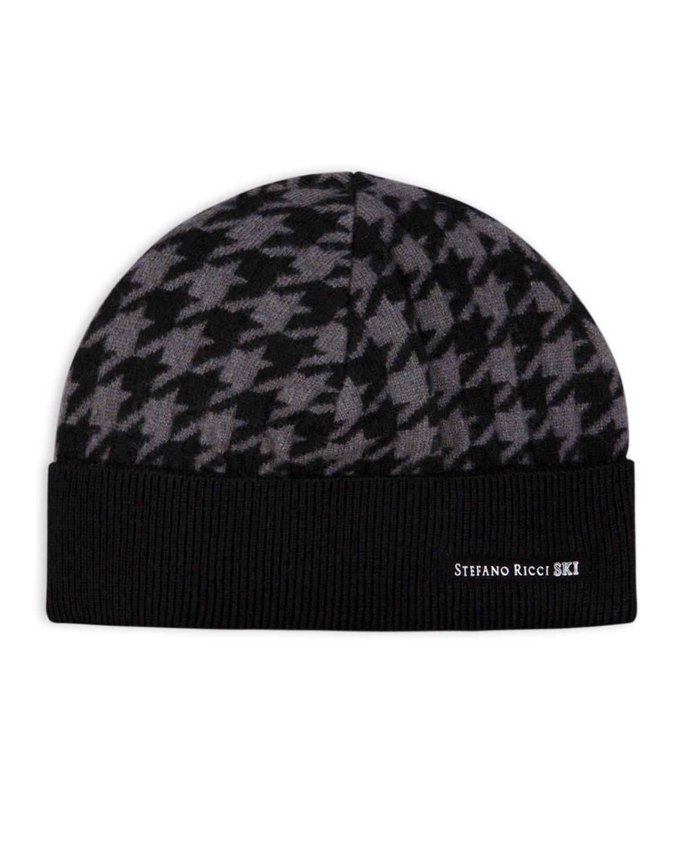 Stefano Ricci Men S Houndstooth Ski Beanie Hat In Gray  54168b9ca545