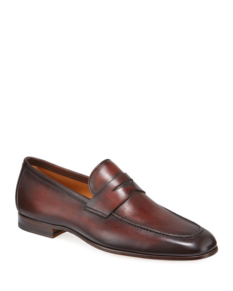 Magnanni for Neiman Marcus Men's Boltiarcade Caoba Leather Loafers