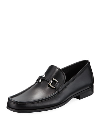 Salvatore Ferragamo Men's Gancini-Bit Leather Moccasin Loafer