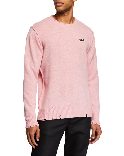 Men's Distressed Crewneck Sweater