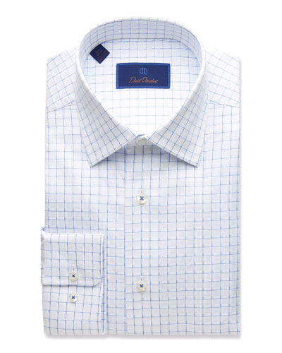 Men's Regular-Fit Twill Box-Check Dress Shirt