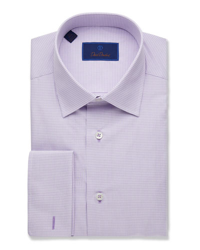 Men's Regular-Fit Micro-Gingham Dress Shirt with French Cuffs