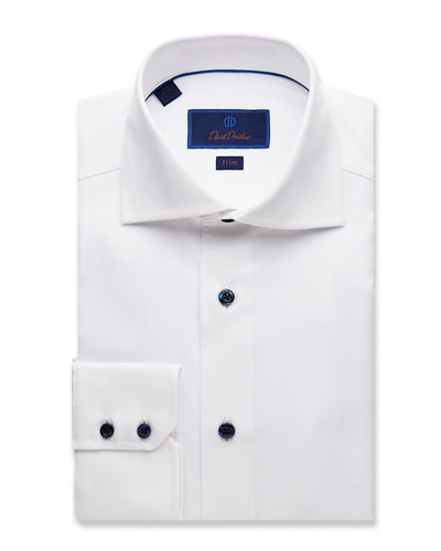 Men's Trim-Fit Micro-Textured Dress Shirt