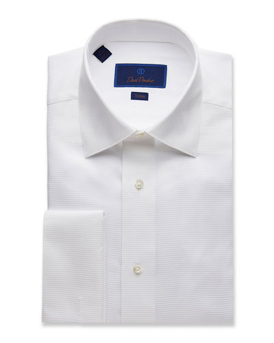 Men's Trim-Fit Ribbed Formal Dress Shirt