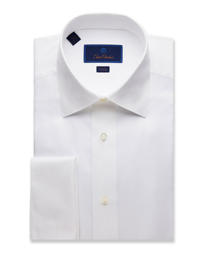 Men's Trim-Fit Box-Pattern Formal Dress Shirt
