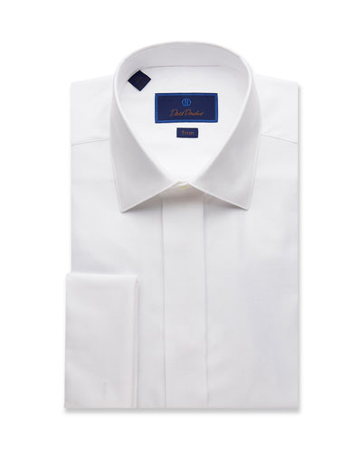 Men's Trim-Fit Diamond-Pattern Formal Dress Shirt