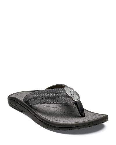 Men's Hokua Mesh Faux-Leather Flip-Flop Sandals, Clay/Charcoal