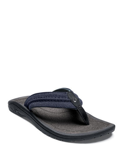 Men's Hokua Mesh Faux-Leather Flip-Flop Sandals, Night/Charcoal