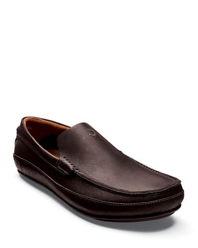 Men's Kulana Leather Slip-On Loafers, Dark Brown