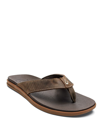 Men's Alania Embroidered Leather Thong Sandals