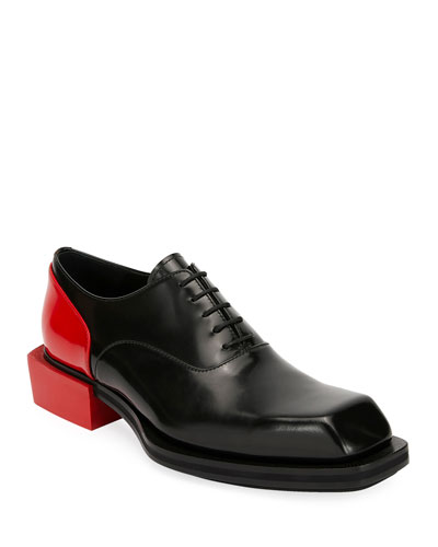 Men's Colorblock Leather Lace-Up Shoes