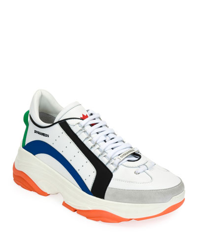Men's High-Sole Colorblock Leather Sneakers