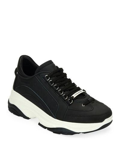 Men's High-Sole Nubuck Leather Sneakers