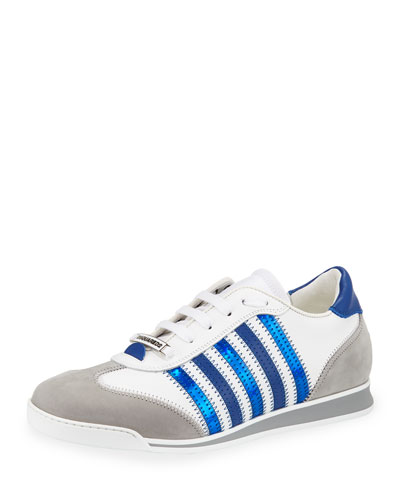 Men's Contrast-Stripe Canvas & Leather Sneakers