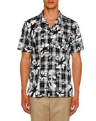 Neil Barrett Men's Tartan Flowers Graphic Shirt