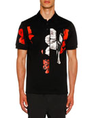 Neil Barrett Men's Floral Graphic Polo Shirt