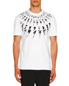 Neil Barrett Men's Floral Lightning Bolt T-Shirt