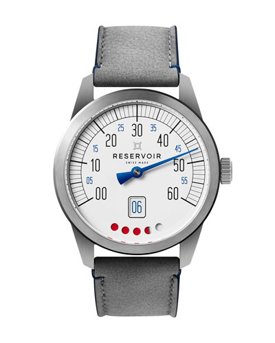 Men's Tiefenmesser Stainless Steel Watch w/ Leather Strap