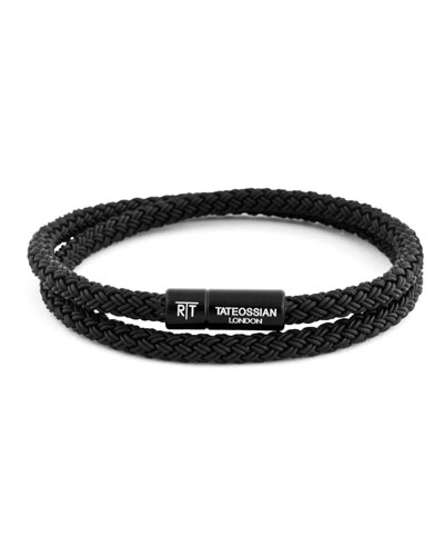 Men's Braided Rubber Double-Wrap Bracelet, Size L