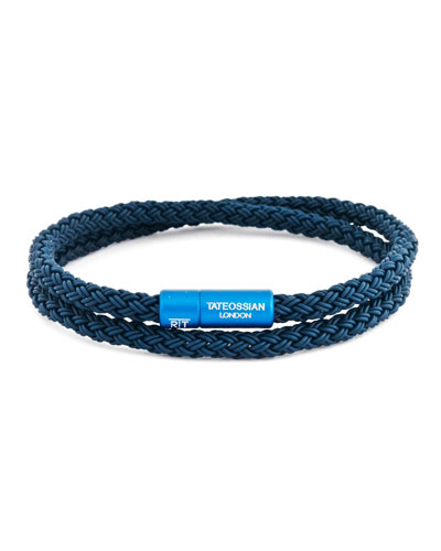 Men's Braided Rubber Double-Wrap Bracelet, Size M