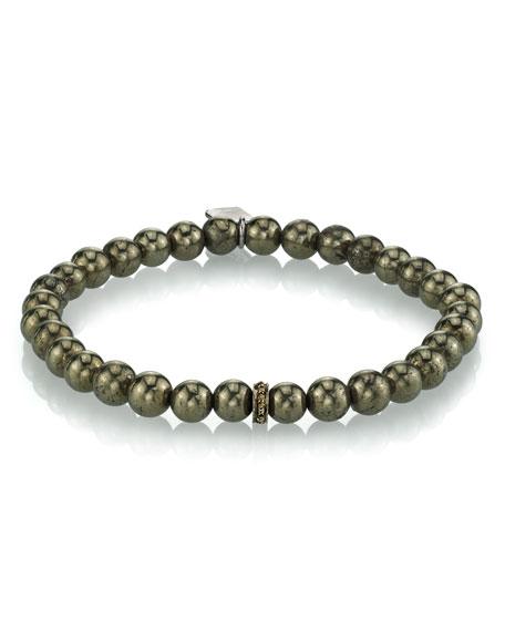 Mr. Lowe Men's Pyrite Beaded Bracelet, 6mm