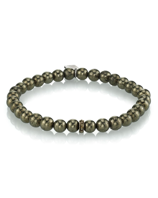 Men's Pyrite Beaded Bracelet