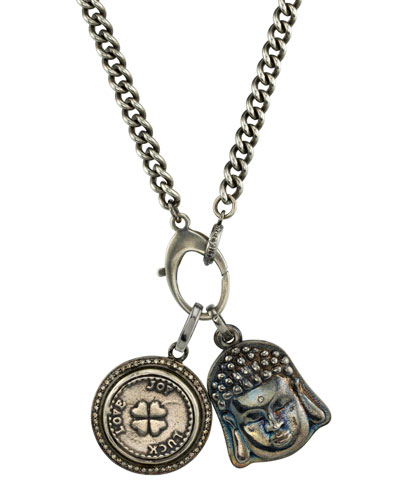 Men's Buddha & Clover Pendant Necklace