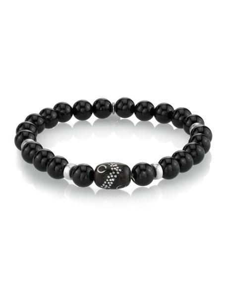 Mr. Lowe Men's Onyx Bead Bracelet, Size M