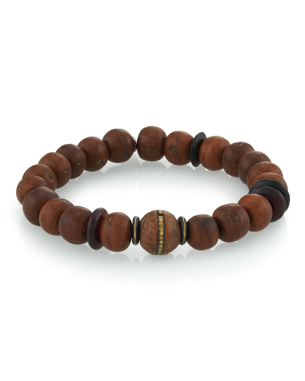 Men's Wood Bead Bracelet w/ Horn
