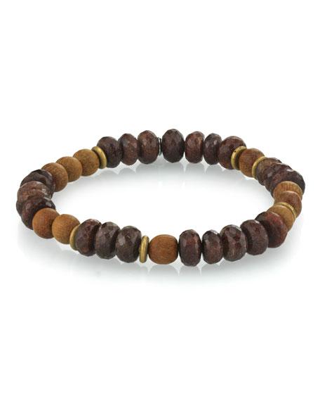 Mr. Lowe Men's Coffee Quartz & Sandalwood Bracelet, Size M